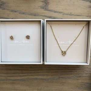 India Hicks Tiny Palm Earrings and Necklace